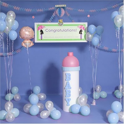 Baby shower wall decoration ideas home design architecture for Baby boy shower decoration kits