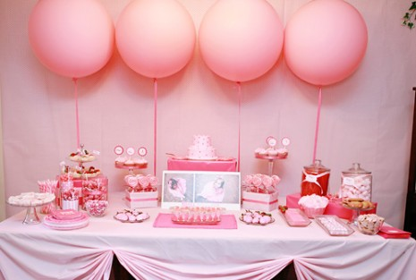 Baby shower party ideas for baby girl party ideas - Pink baby shower table decorations ...