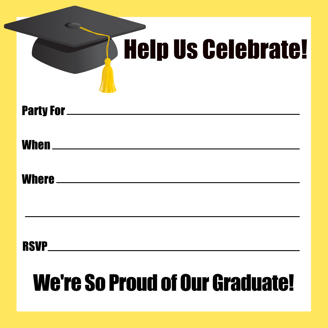 Challenger image throughout printable graduation party invitations