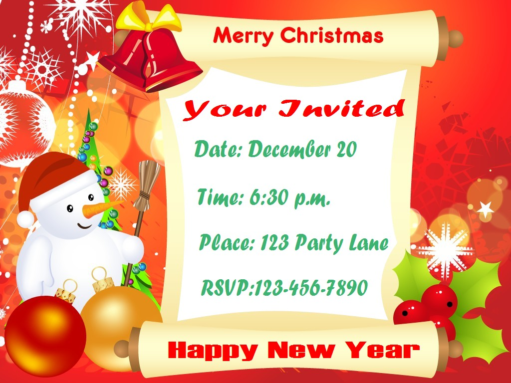 Xmas Invite Wording as amazing invitations example